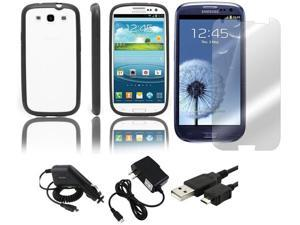 Fosmon PC + TPU Hybrid Case + Rapid Car Charger + Home Wall Charger + USB Data Charge Sync Cable + Screen Protector for Samsung Galaxy S3 S III