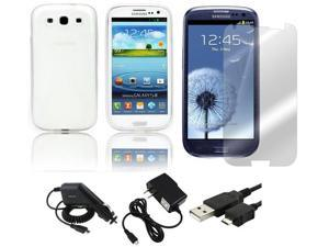 Fosmon X-Shape Flexible TPU Gel Case + Rapid Car Charger + Home Wall Charger + USB Data Charge Sync Cable + Screen Protector for Samsung Galaxy S3 S III