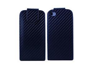 Fosmon Vertical Flip Leather Case for Apple iPhone 4S / 4 - Carbon Fiber