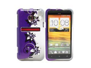 Fosmon Crystal Hard Protector Case Cover for HTC EVO 4G LTE - Purple/Silver Vine