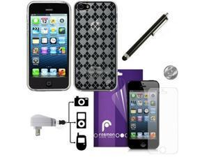 Fosmon DURA Series TPU Checker Design Case 6 in 1 Bundle for Apple iPhone 5