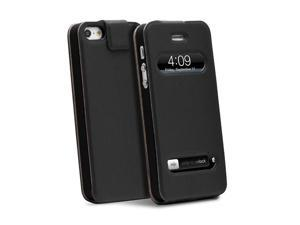 GreatShield SHIFT LX Flip Genuine Leather Case w/ Swipe-to-Unlock and Time Cutouts for iPhone 5/5S - Black