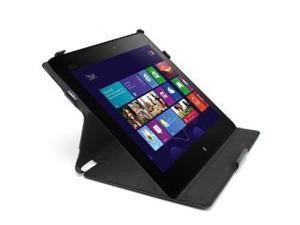 GreatShield VANTAGE Series Leather Case Slim Folio Cover with Multi Angle Stand for ASUS VivoTab RT / TF600T - Black