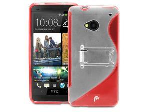 Fosmon S-Line Slim Flexible Wave Hybrid PC+TPU Hard Kick Stand Case Cover Skin for HTC One M7 - Red