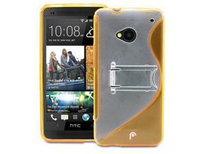 Fosmon S-Line Slim Flexible Wave Hybrid PC+TPU Hard Kick Stand Case Cover Skin for HTC One M7 - Orange