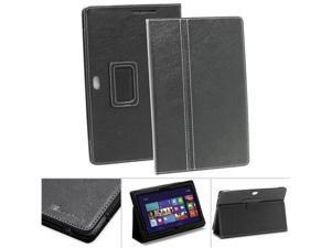 GreatShield TOME Series Slim Fit Leather Case Folio Cover with Stand for ASUS VivoTab Smart - ME400 / ME400C - Black