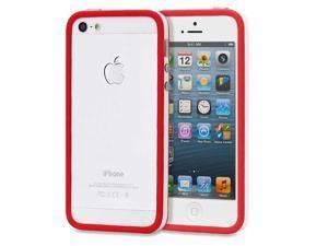 Fosmon BUFFER Series TPU Bumper Case for Apple iPhone 5 / 5S - Red Edge / White Center