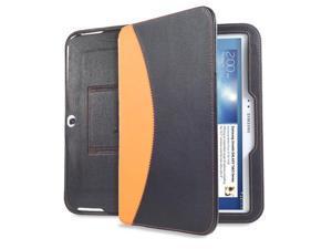 GreatShield LEAN Series Ultra Slim Leather Case with Bluetooth Keyboard and Sleep/Wake Cover for Samsung Galaxy Tab 3 10.1 inch Tablet (Black & Orange)