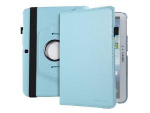 Fosmon GYRE Series Revolving Leather Case with Stylus and Sleep/Wake Function for Samsung Galaxy Tab 3 10.1 Tablet (Sky Blue)