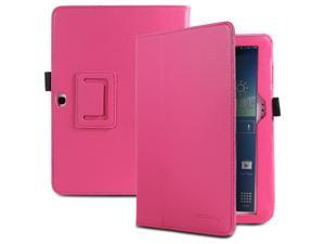 Fosmon OPUS Series Folding Leather Case with Stand, Stylus and Sleep/Wake Function for Samsung Galaxy Tab 3 10.1 Tablet (Hot Pink)