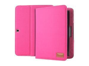 GreatShield Vantage Denim Fabric Case with Stand & Sleep Wake Function for Samsung Galaxy Tab 3 10.1 - Hot Pink