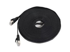 Fosmon Cat7 Network Ethernet Patch Flat Cable (Black) - 25ft