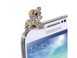 Fosmon PORTY-HAT Series Dust Cap for 3.5mm Plug - Fits Cell Phones, iPod's, Tablets and More! (Sparkley Teddybear)