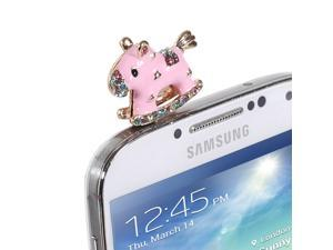 Fosmon PORTY-HAT Series Dust Cap for 3.5mm Plug - Fits Cell Phones, iPod's, Tablets and More! (Pink Rocking Horse)