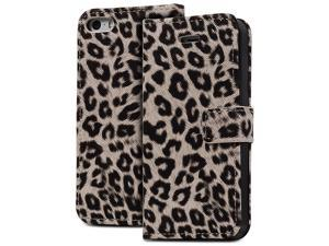 Fosmon CADDY-LEOPARD Leather Folio Wallet Case for Apple iPhone 5 / 5S