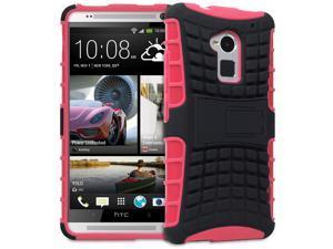 Fosmon HYBO-RAGGED Series Detachable Hybrid TPU + PC Kickstand Case for HTC One Max / HTC T6 - Black/Hot Pink