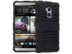Fosmon HYBO-RAGGED Series Detachable Hybrid TPU + PC Kickstand Case for HTC One Max / HTC T6 - Black/Black