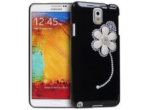 Fosmon GEM-FLAX Series 3D Bling Flax Flower Design Case for Samsung Galaxy Note 3 / Note III - Black
