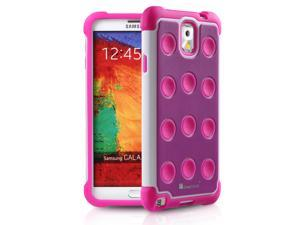 GreatShield TM Samsung Galaxy Note 3 / Note III (DOMINO Polka Dot) Dual Layer PC + Silicone Hybrid Soft Case Hard Cover - Purple/Hot Pink