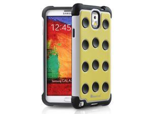 GreatShield TM Samsung Galaxy Note 3 / Note III (DOMINO Polka Dot) Dual Layer PC + Silicone Hybrid Soft Case Hard Cover - Yellow/White