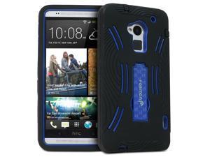 Fosmon HYBO-DT Detachable Hybrid Silicone + PC Kickstand Case for HTC One Max / HTC T6 - Black/Blue