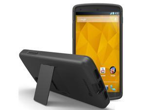 GreatShield Legacy Series Ultra Slim Fit Dual Layer Hybrid Case with Kickstand & Screen Protector for Google Nexus 5 - Black/Black