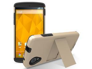 GreatShield Legacy Series Ultra Slim Fit Dual Layer Hybrid Case with Kickstand & Screen Protector for Google Nexus 5 - Champagne Gold/Black