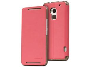 Fosmon HTC One Max / HTC T6 (CADDY-VINYL) Leather Folio Wallet Case Cover with Stand - Pink