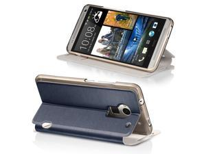 Fosmon HTC One Max / HTC T6 (CADDY-VINYL) Leather Folio Wallet Case Cover with Stand - Navy