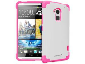 Fosmon HTC One Max / HTC T6 (HYBO-DOUC) Detachable Dual Layer Hybrid Protective Skin Case Cover - Pink/White
