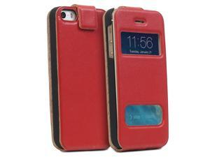 GreatShield SHIFT LX Flip Genuine Leather Case w/ Swipe-to-Unlock and Time Cutouts for iPhone 5/5S - Red