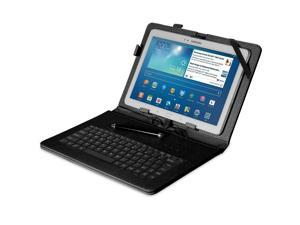 "Fosmon OPUS Leather Case with Stand, Micro USB Keyboard and Stylus for 10"" Tablets (Black)"