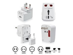 FosPower World-Wide Universal AC Adapter Travel Charger with [1.0A] USB Charging Port (US UK EU AU) - White