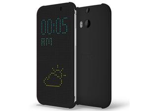 HTC Dot View Case for HTC One M8 - Warm Black/Dark Gray