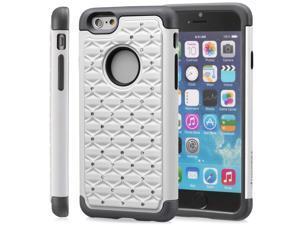 """Fosmon HYBO-SD Star Diamond Hybrid Dual Layer(PC+Silicone) Case for Apple iPhone 6 4.7"""" - White/Black"""