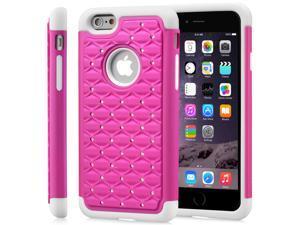 "Fosmon HYBO-SD Star Diamond Hybrid Dual Layer(PC+Silicone) Case for Apple iPhone 6 Plus/6s Plus (5.5"") - Hot Pink/White"