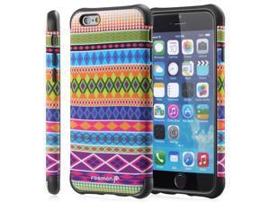 "Fosmon HYBO-TRIBAL Detachable Hybrid (PC+TPU) Case with Kickstand for Apple iPhone 6 (4.7"") - Black/Small Diamond"