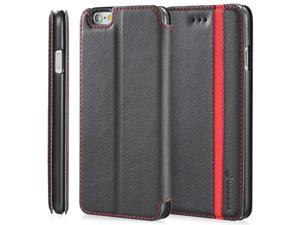 "Fosmon CADDY-TONE Leather Multipurpose Wallet Case forApple iPhone 6 Plus (5.5"") - Black / Red (Stripe)"
