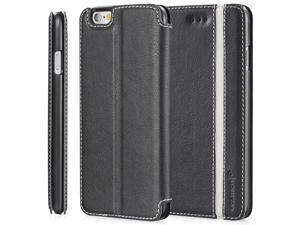 "Fosmon CADDY-TONE Leather Multipurpose Wallet Case forApple iPhone 6 Plus (5.5"") - Black / White (Stripe)"