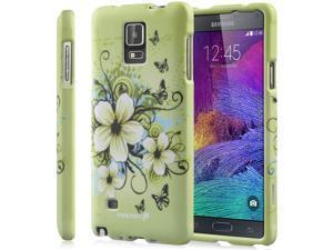 Fosmon MATT-DESIGN Rubberized Polycarbonate (PC) Snap-On Case for Samsung Galaxy Note 4 - Green Flower
