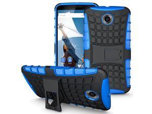 Fosmon HYBO-RAGGED Detachable Hybrid Dual Layer (TPU + PC) Kickstand Case for Google Nexus 6 - Blue (TPU) /Black (PC)
