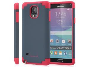 Fosmon HYBO-DUOC Detachable Hybrid Dual Layer(PC+Silicone) Case for Samsung Galaxy Note 4 - Red(Silicone) / Navy Blue (PC)
