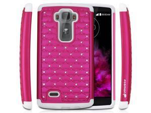Fosmon HYBO-SD Star Diamond Hybrid Dual Layer(PC+Silicone) Case for LG G Flex 2 - Hot Pink/White