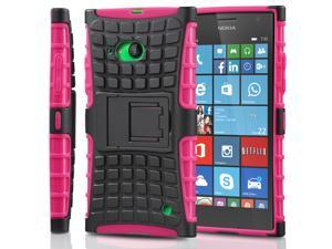 Fosmon HYBO-RAGGED Detachable Hybrid Dual Layer (TPU +PC) Kickstand Case for Nokia Lumia 735 - Hot Pink (TPU) /