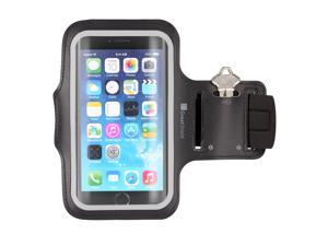 """GreatShield FIT Stretchable Neoprene Sport Armband withHidden Pocket and Non-Slip Rubber Dots for Apple iPhone 64.7"""" - Black"""