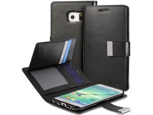 Vena vDiary PU Leather Wallet Flip Case wtih Card Pockets for Samsung Galaxy S6 Edge - Black/Black