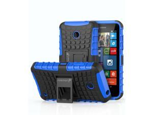 Fosmon HYBO-RAGGED Detachable Hybrid Dual Layer (TPU +PC) Kickstand Case for Nokia Lumia 635 - Black/Blue