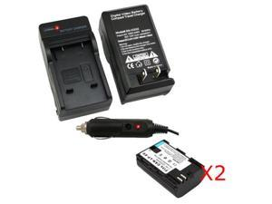 2 X LP-E6 Replacement Battery + Charger w/ Car Adpater for Canon EOS 5D Mark II 2 7D