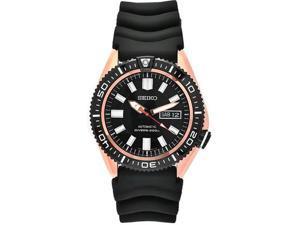Seiko Automatic Black Dial Black Rubber Mens Watch SKZ330