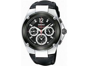 Seiko SRW899 Black Dial Sportura Chronograph Strap with Diamonds